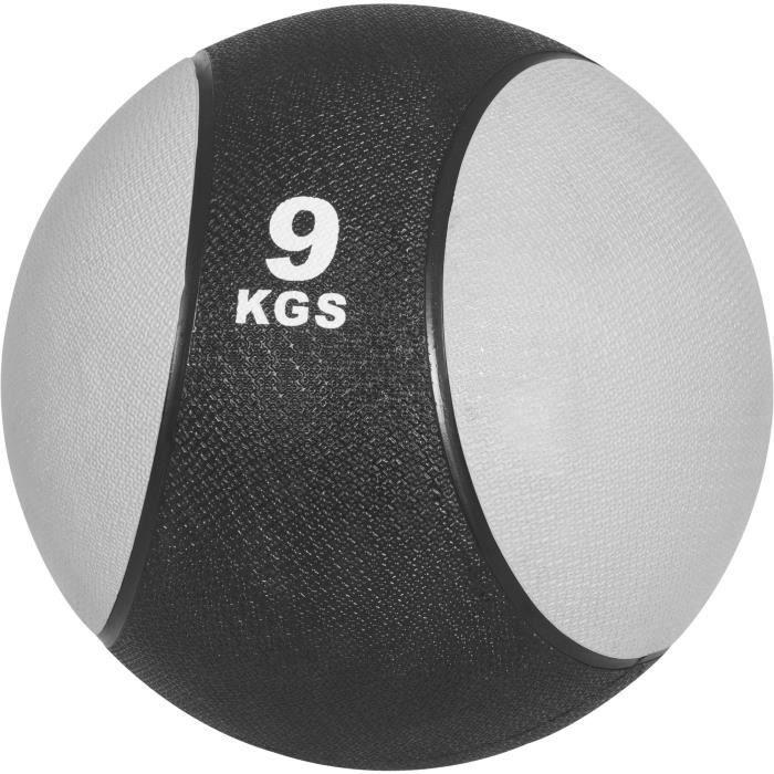 Médecine ball 9kg jaune/noir - ballon de musculation