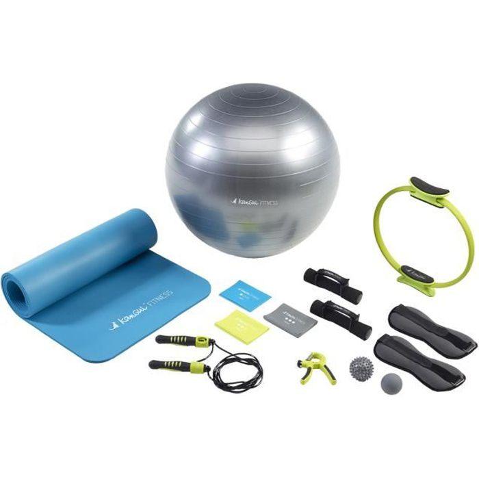 Kangui - Tapis et ballon de gym, 3 bandes élastiques, corde à sauter, haltères, lest, pilate, handgrip et balles massage - EXPERT