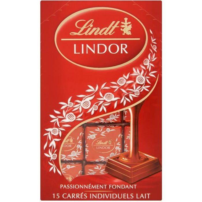 LINDT LINDOR Chocolat carrés au lait - 15 carrés individuels - 145 g