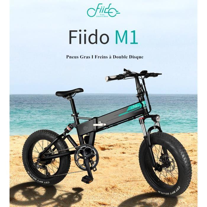 Nouveau FIIDO M1 Vélo de Montagne Électrique Pliant Roues de 20 po Pneus 250 W Dérailleur Shimano 7 Vitesses 12,5 Ah - Noir