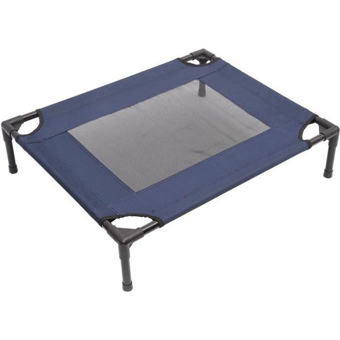 Lit pour chien chat grand confort sur pieds tissu oxford textilène micro-perforé 76L x 61l x 18H cm bleu marine noir 37 76x61x18cm