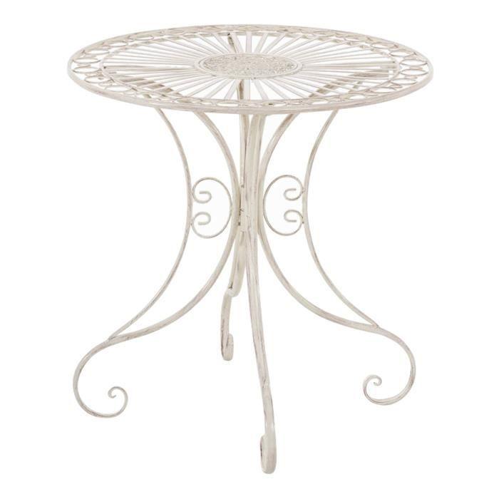Table de jardin ronde en fer coloris crème antique - 72.5 x 70 x 70 cm
