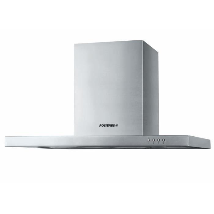 ROSIERES RMB9600/1IN - Hotte décorative - 642,4m3/h max - 70 dB max - 3 vitesses - L90cm - Inox