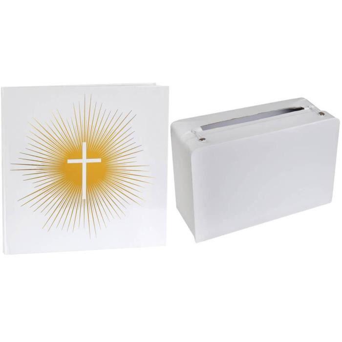 Pack duo de fête avec 1 livre d'or Communion et 1 tirelire valise REF/6848-5092