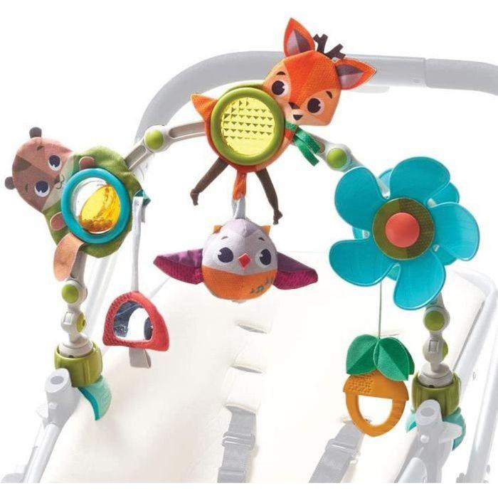 Tiny Love Arche d'activités Articulée Musicale Nature pour bébé , Clip ajustables convenant à la plupart des poussettes, Dès la nais