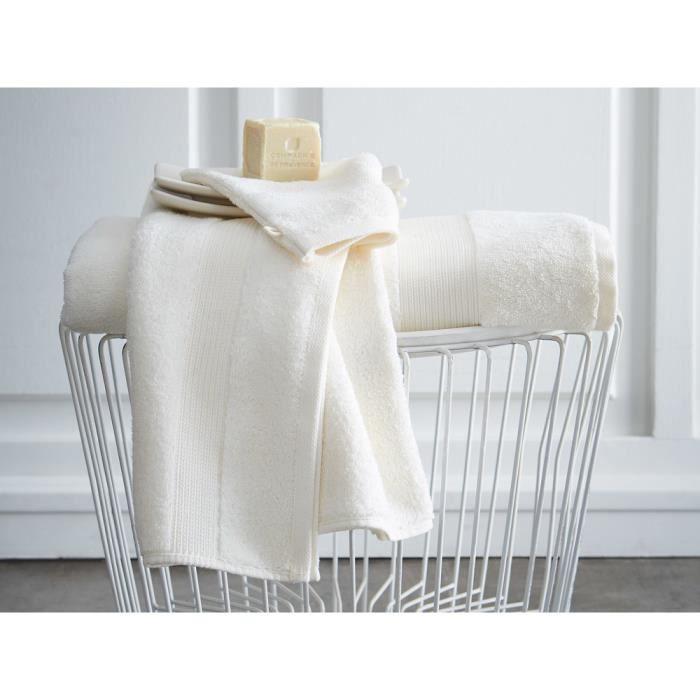 TODAY Drap de bain Premium - 100% coton 600 g/m²- 70 x 130 cm - Blanc chantilly