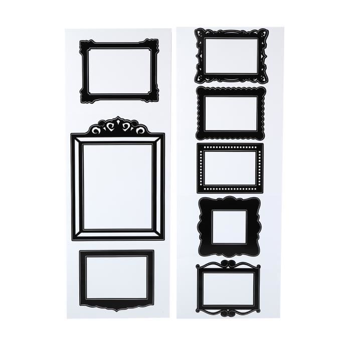 8 stickers cadres noir achat vente stickers cdiscount. Black Bedroom Furniture Sets. Home Design Ideas