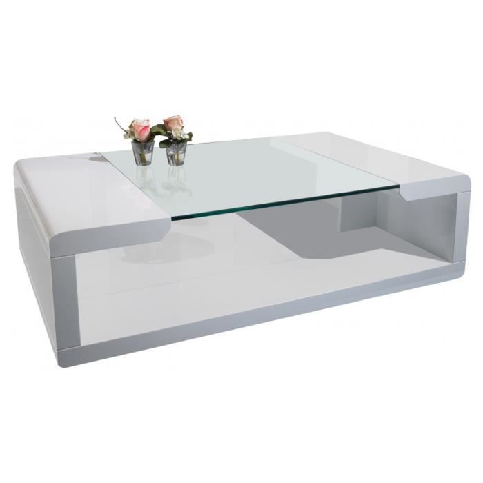 Table basse design laqu blanc plateau verre achat vente table basse tabl - Table basse en verre blanc ...