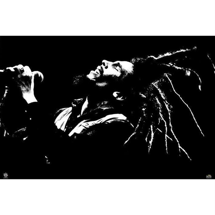 poster noir blanc de bob marley 91 5 x 61cm achat. Black Bedroom Furniture Sets. Home Design Ideas