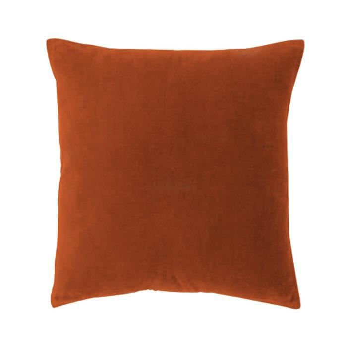 coussin en velours orange am lie 45x45cm moncornerdeco. Black Bedroom Furniture Sets. Home Design Ideas