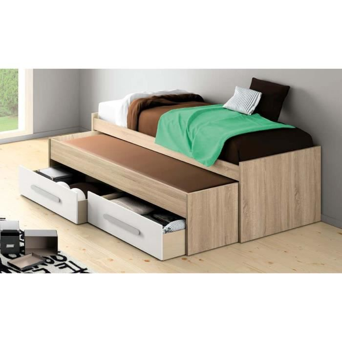 lit gigogne adulte 2 matelas 90x200 boston blanc achat vente lit gigogne pack lit gigogne. Black Bedroom Furniture Sets. Home Design Ideas