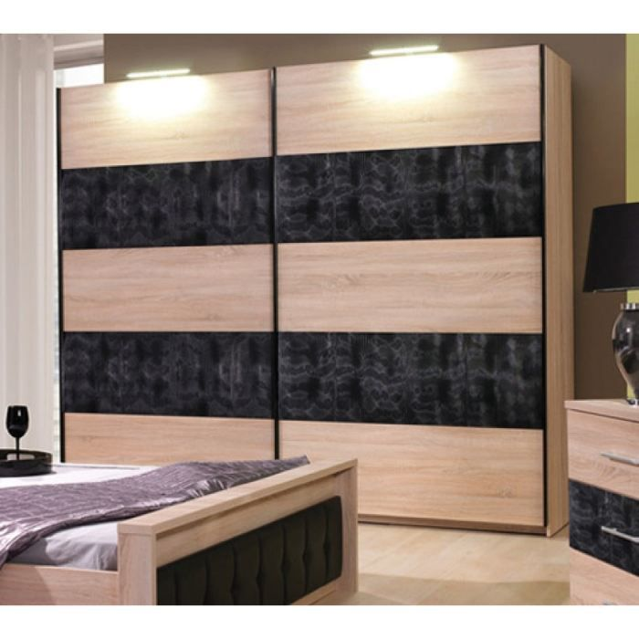 armoire de chambre a coucher nana naturel 2m achat. Black Bedroom Furniture Sets. Home Design Ideas