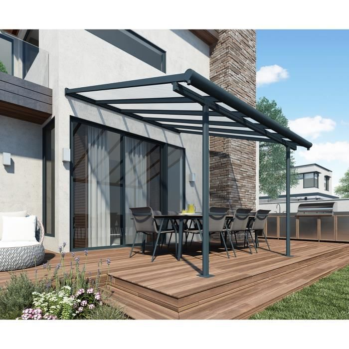 toit de terrasse avanc e de toit aluminium 3 x 3 05 m gris anthracite achat vente pergola. Black Bedroom Furniture Sets. Home Design Ideas