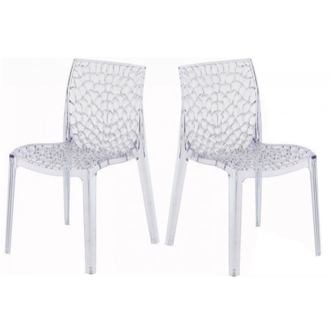 Lot de 2 chaises transparentes gruyer achat vente chaise polycarbonate - Chaise transparente discount ...