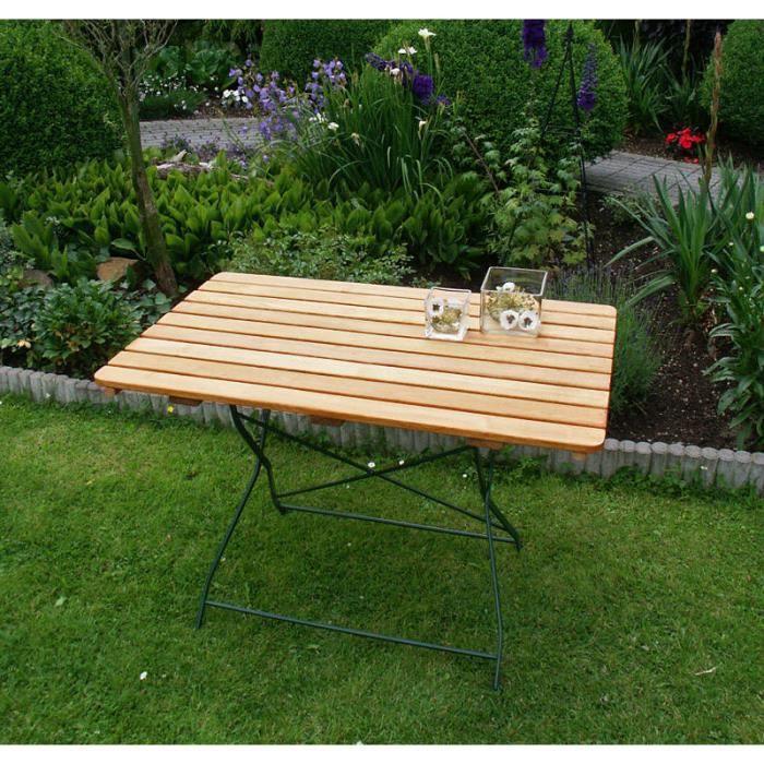 Table rectangulaire pliante salon de jardin 70x110cm acier ...