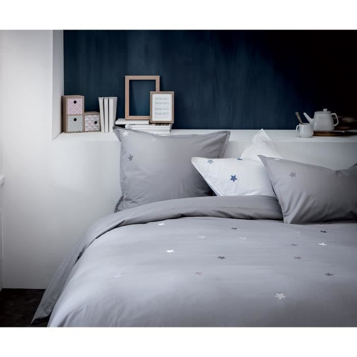 housse de couette grise brod e gris 100 coton achat. Black Bedroom Furniture Sets. Home Design Ideas
