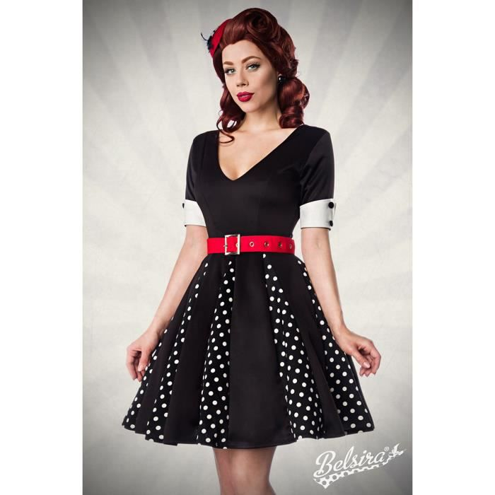 robe r tro pin up rockabilly belsira rouge noir achat vente robe cdiscount. Black Bedroom Furniture Sets. Home Design Ideas