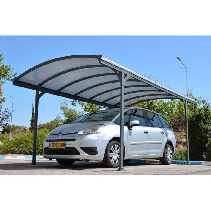 ABRI JARDIN - CHALET Carport DELAGE en aluminium gris, 290 x 499 x 240