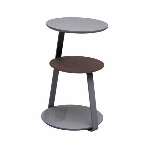Table d 39 appoint gu ridon donna gris laqu et noyer achat for Table d appoint moderne