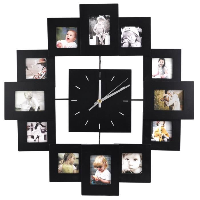 cadre 12 multi photo display horloge murale achat. Black Bedroom Furniture Sets. Home Design Ideas