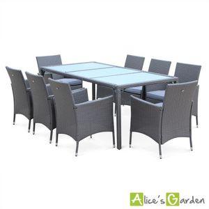 Salon de jardin Parma Gris table de 190cm en résine tressée ...
