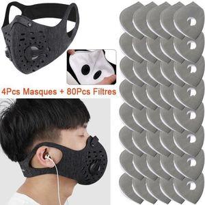 SH M188 Masque de bouche et de nez en coton 2 couches avec 10 filtres 3 couches lavables /à 60 /°C camouflage