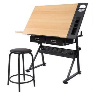 TABLE A DESSIN Table à dessin inclinable avec Tabouret chaise et