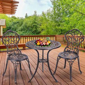 SALON DE JARDIN  Ensemble Table et Chaises de Jardin en Aluminium A