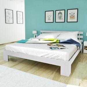 STRUCTURE DE LIT Lit en bois de pin massif Blanc 200 x 160 cm pour
