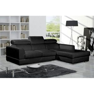 CANAPÉ - SOFA - DIVAN Canapé d'angle NETO noir design cuir
