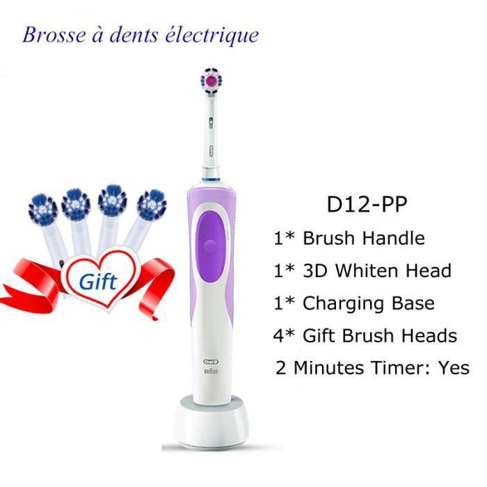 brosse à dents électrique 2D propre brosse à dents rotative brosse à dents Rechargeable dents doubles têtes de brosse propres