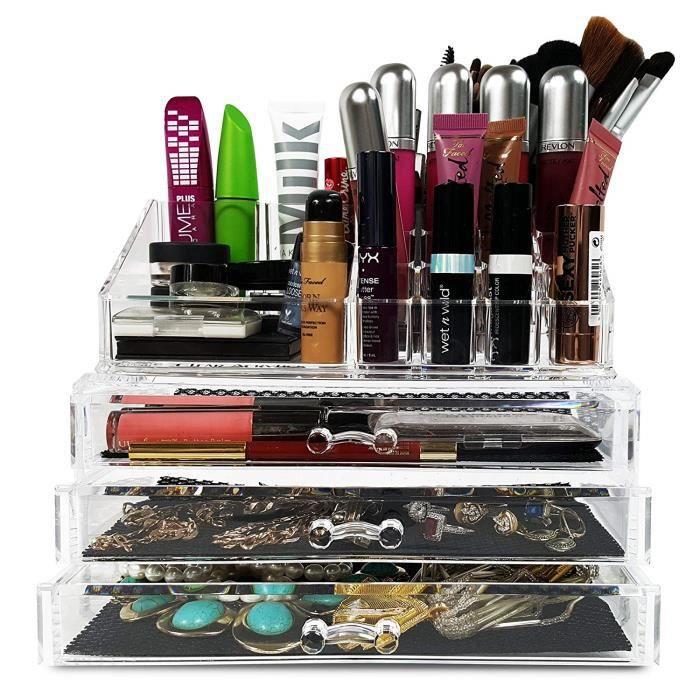 Pour les cas - maquillage rouge acrylique organisateur de bijoux vernis produits de beauté - 3 brosses cosmétique tiroirs armoires
