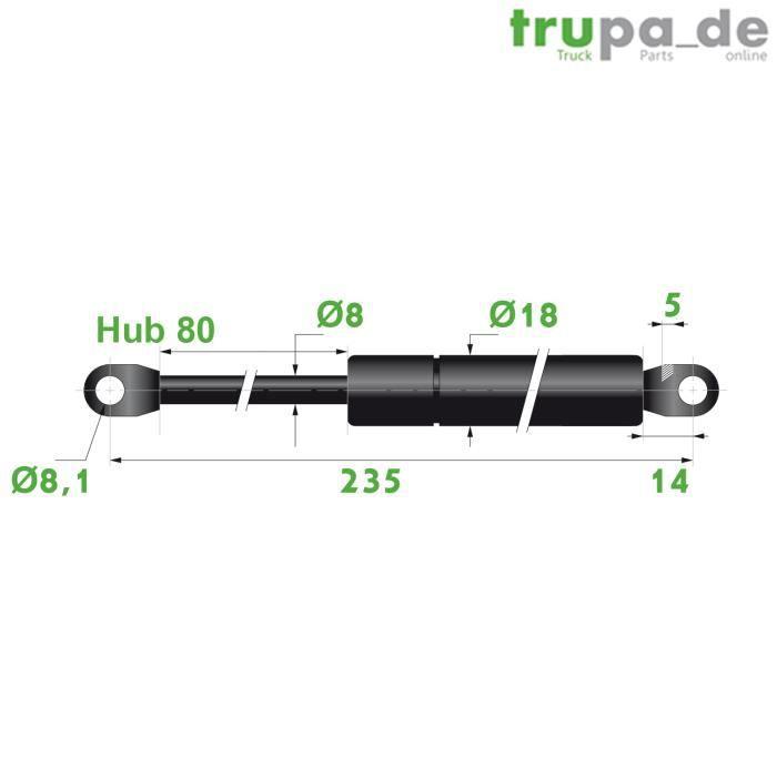 Ressort Vérin à gaz en acier Ø8mm - force 100N - course 80mm