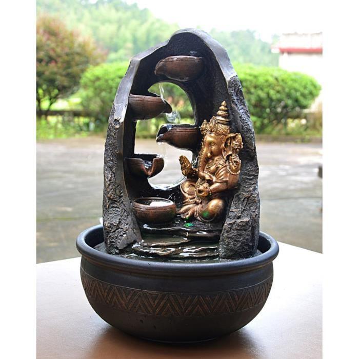 Grande fontaine d'intérieur Mystic Ganesh 40cm + éclairage Led Noir