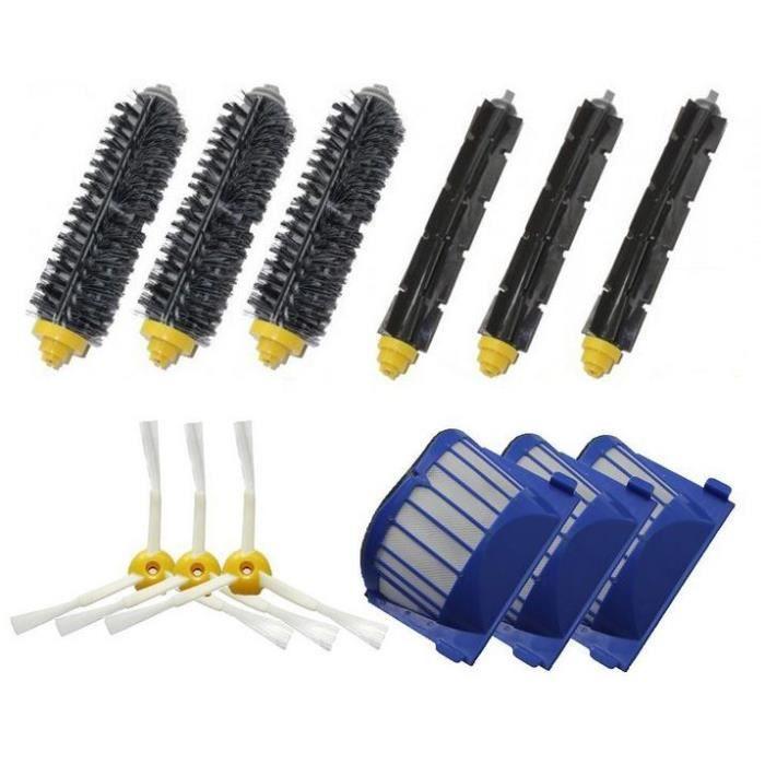 Kit De 1 paire de extracteur brosse +3 Garde Filtre + 3 Brosse Latérale Pour iRobot Roomba série 600(595 620 630 650 660)