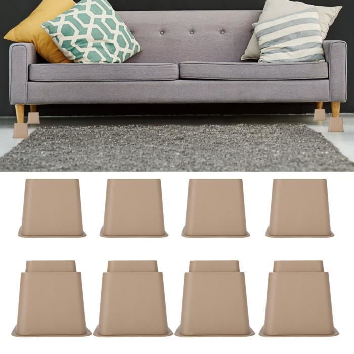 Pied de meubles Riser de fourniture Réhausseur de meuble Lit / Table / Bureau / Canapé/Chaise 4 x 5-, 4 x 3-