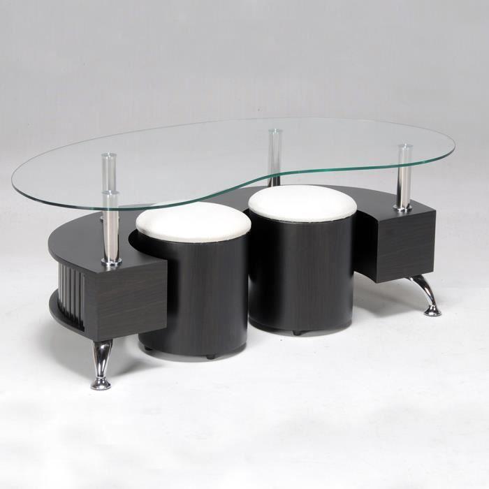 OMEGA - Table basse + 2 poufs wengé