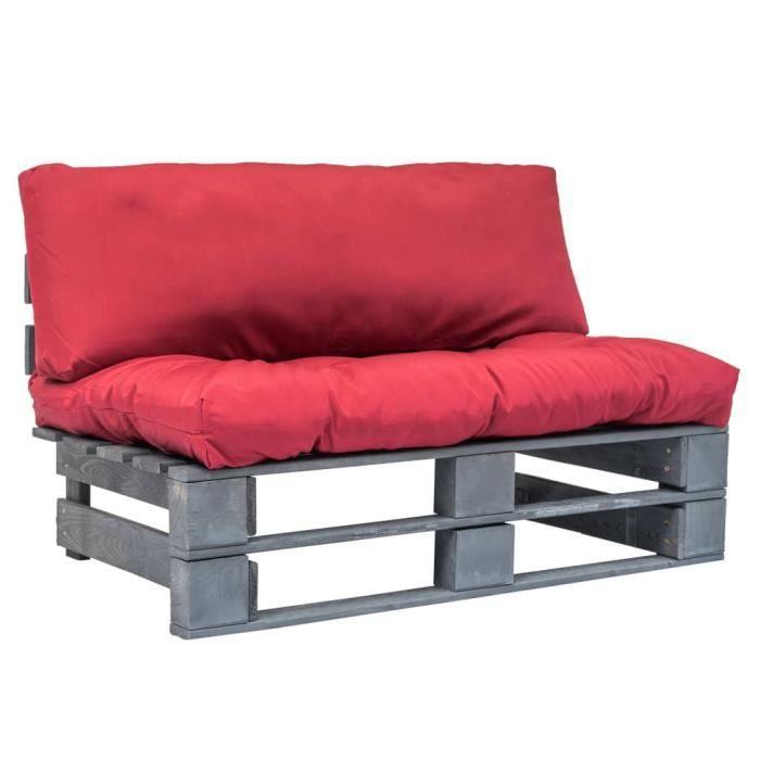 Canapé de jardin palette avec coussins Canapés de Terrasse, Jardin ou Salon Canapé d'Angle- Siège d'Extérieur - rouge Pinède Super