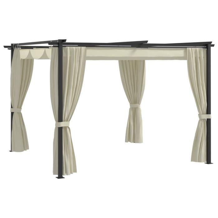 FNCM® Tonnelle de jardin Style Moderne - Barnum Chapiteau de jardin Belvédère avec rideaux 3x3 m Crème Acier ❤5055