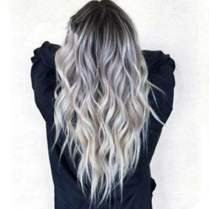 Vente chaude européenne et américaine blanchis et teints cheveux mi-longs bouclés COS perruque d'anime dégradé gris