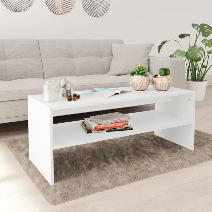 Table basse design scandinave salon contemporain Blanc 100 x 40 x 40 cm Aggloméré