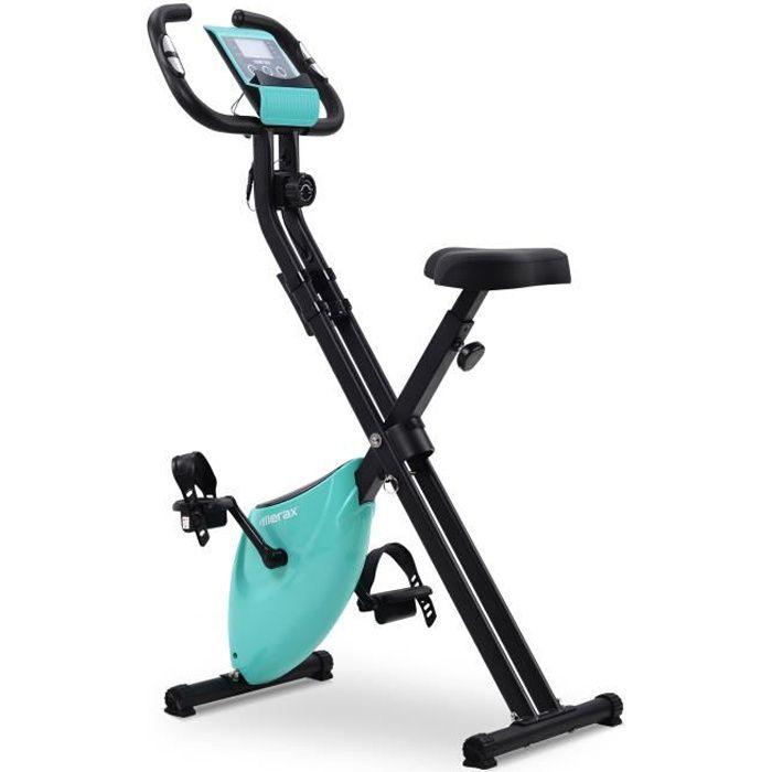 Merax Vélo d'appartement Pliable 120kg - 8 Niveaux Réglable de Resistance pour Cardio et Fitnesse - Bleu Tiffany