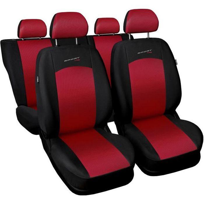 Housse De Siège Voiture Auto pour Fiat Punto Grande Evo 2012 Sportline Rouge Tissu de revetement/airmesh avec mousse set complet