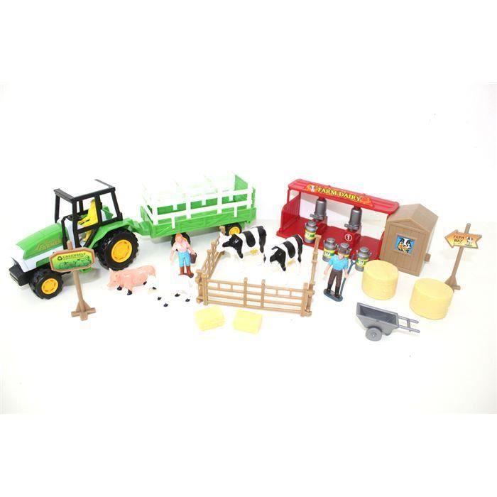Set avec tracteur de ferme et d'accessoires
