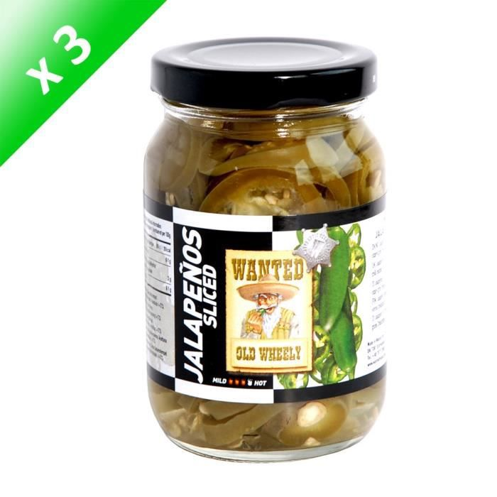 [LOT DE 3] WANTED Piment Jalapeños Sliced - 230 g