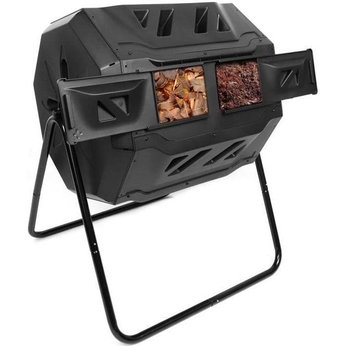 Dripex Tonneau de Compostage Composteur à Tambour 160L Rotatif Compost Décomposition