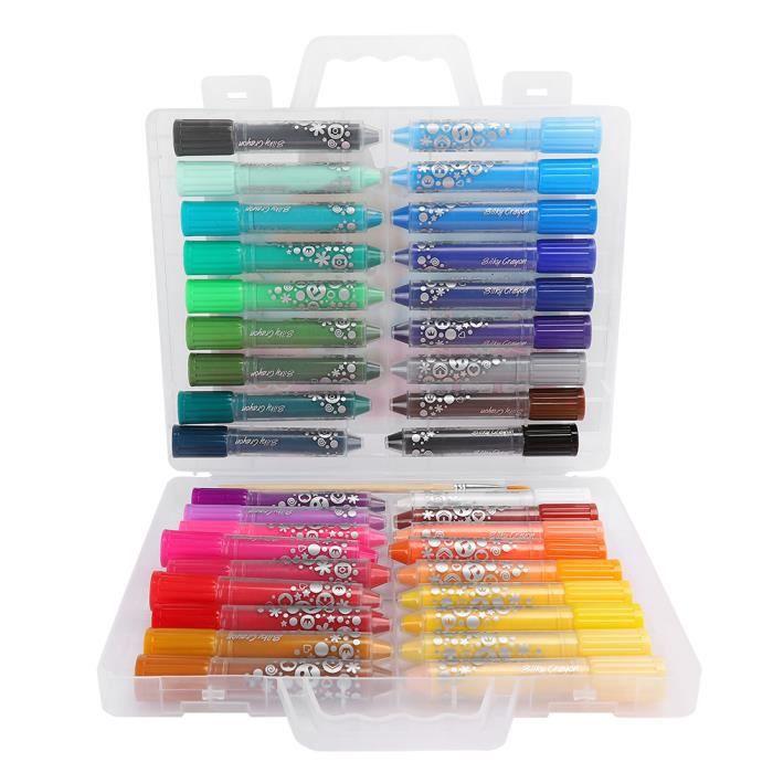 CEN Bâton de Crayon de Cire Soluble à Eau Non Toxiques enfants 36 Couleurs