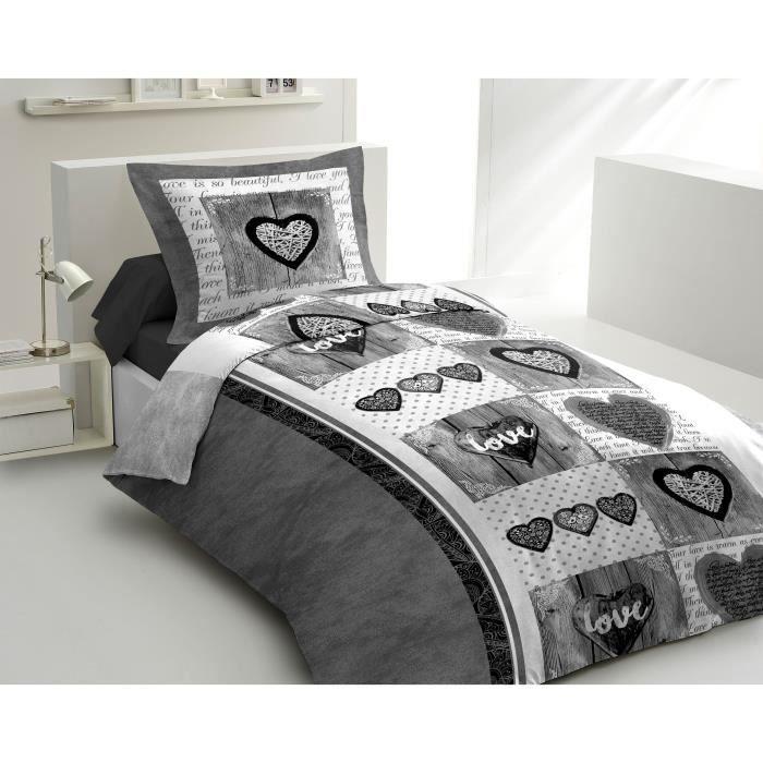 LOVELY HOME Parure de couette Coton SWEET HEART Anthracite 140x200cm
