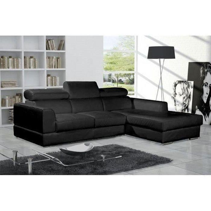 Canapé d'angle NETO noir design cuir
