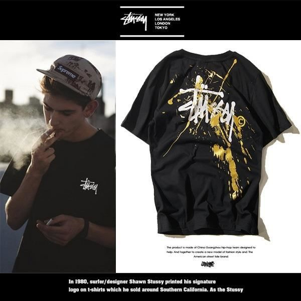 Summer Cotton Manche courted Tee Shirt Homme Street West Coast Stussy Homme Wear Loose Ink